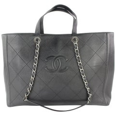 Chanel Quilted Caviar 2way Shopper Tote 3cz0116 Black Leather Shoulder Bag