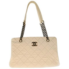 Chanel Quilted Caviar Leather CC Crown Small Tote