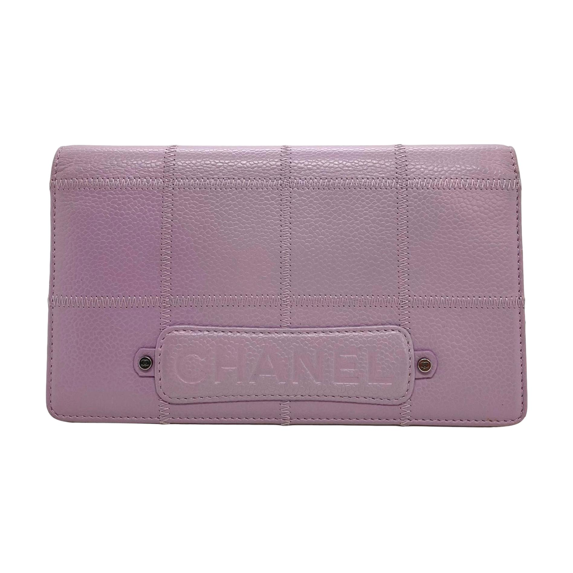 Chanel Quilted Caviar Leather Long Bi-Fold Lavender Wallet