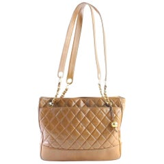 Chanel Quilted Chain Zip Tote 223686 Light Brown Leather Shoulder Bag