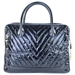 Chanel Quilted Chebron 224196 Black Patent Leather Satchel