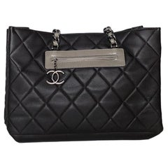 Chanel Quilted Dark Brown Caviar Leather Tote