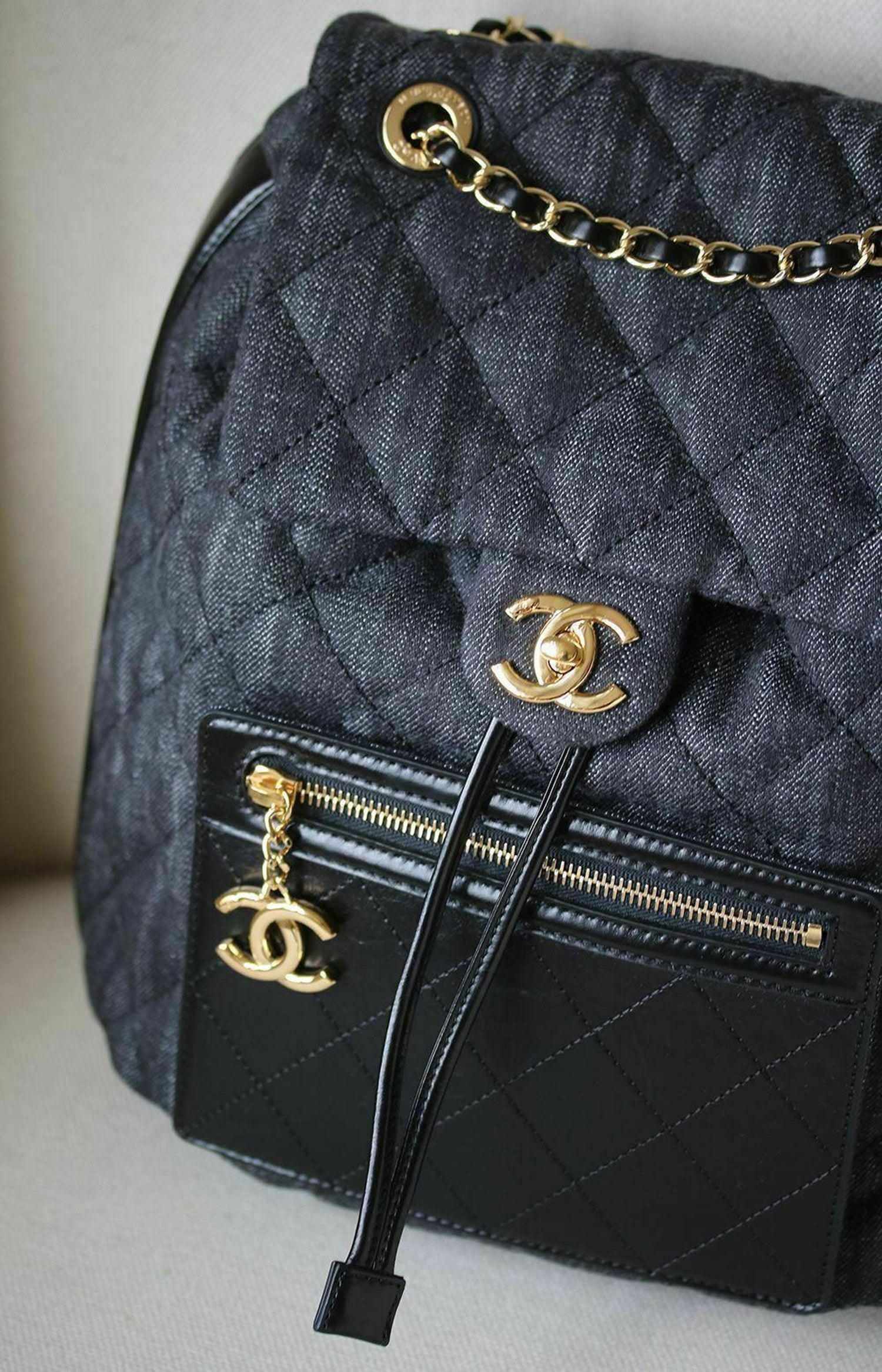 49b2e5ac77d5a8 Chanel Quilted Denim and Leather Backpack at 1stdibs