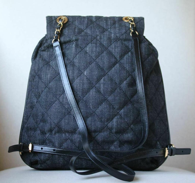 c5d19d101465ae Chanel Quilted Denim and Leather Backpack For Sale 1