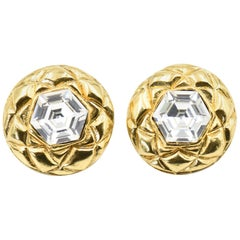 Chanel Quilted Gold Crystal Clip Earrings