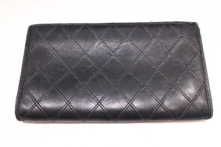 3848b406595d Chanel Quilted Lambskin Bifold Long Flap Wallet 230169 Black Leather Clutch  For Sale 7