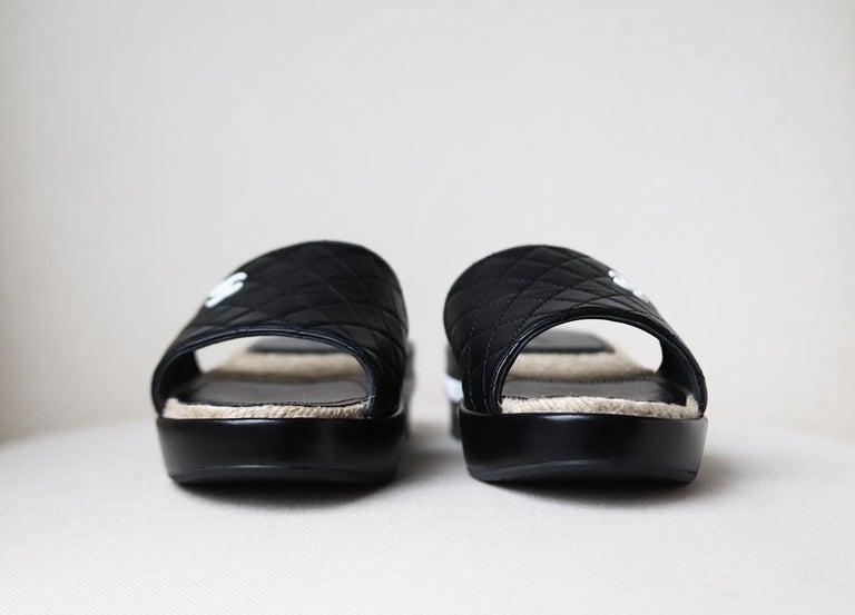 Black Chanel Quilted Lambskin Espadrille Slides  For Sale
