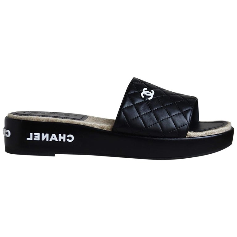 Chanel Quilted Lambskin Espadrille Slides  For Sale