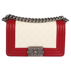 Chanel Quilted Lambskin Le Boy Bag Mini - red/white