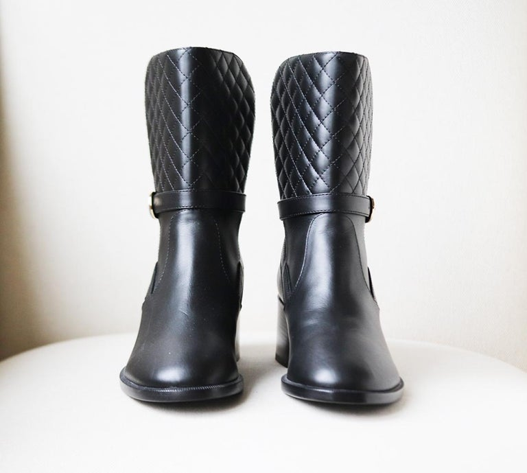 Black Chanel Quilted Lambskin Leather Boots For Sale