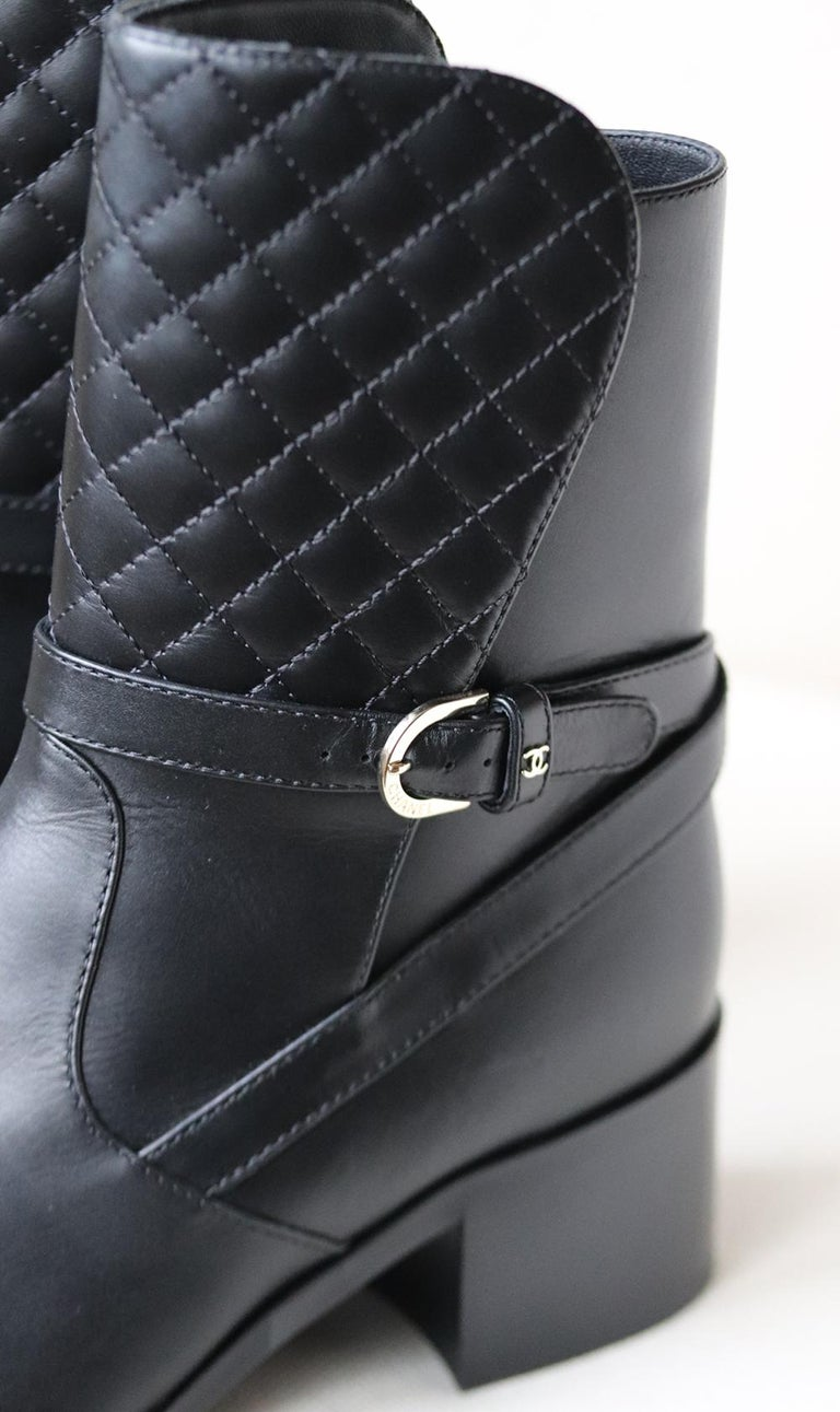 Women's Chanel Quilted Lambskin Leather Boots For Sale