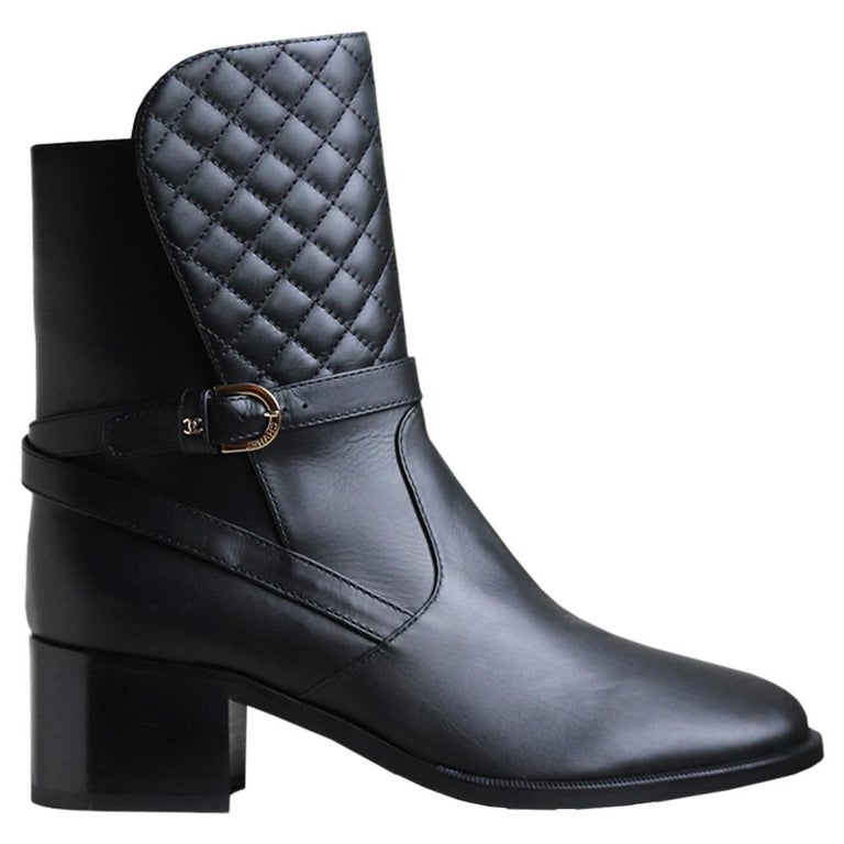 Chanel Quilted Lambskin Leather Boots For Sale