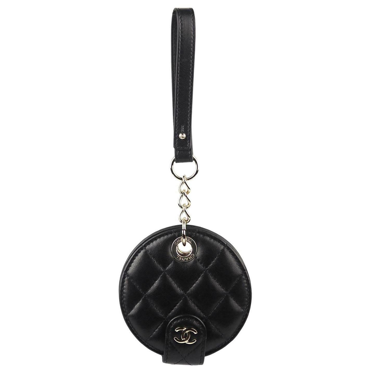 Chanel Quilted Lambskin Leather Luggage Tag