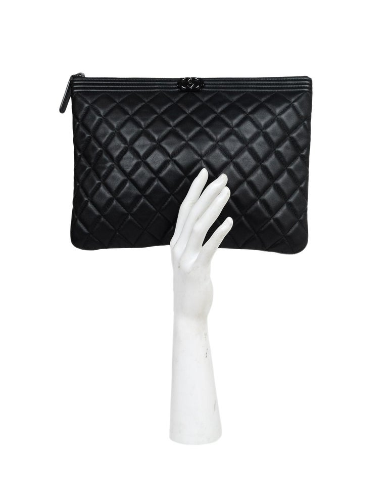 439fe6e9dd5c Chanel Quilted Leather Large So Black Boy O'Case Clutch Bag Made In: Italy