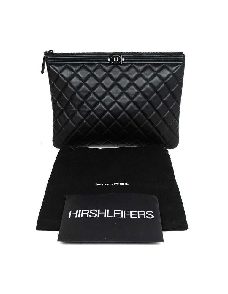 76928174c90c Chanel Quilted Lambskin Leather So Black Boy O'Case Pouch/Clutch Bag For  Sale