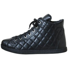 Chanel Quilted-Leather and Tweed Sneakers
