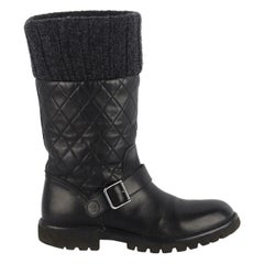Chanel Quilted Leather Biker Boots