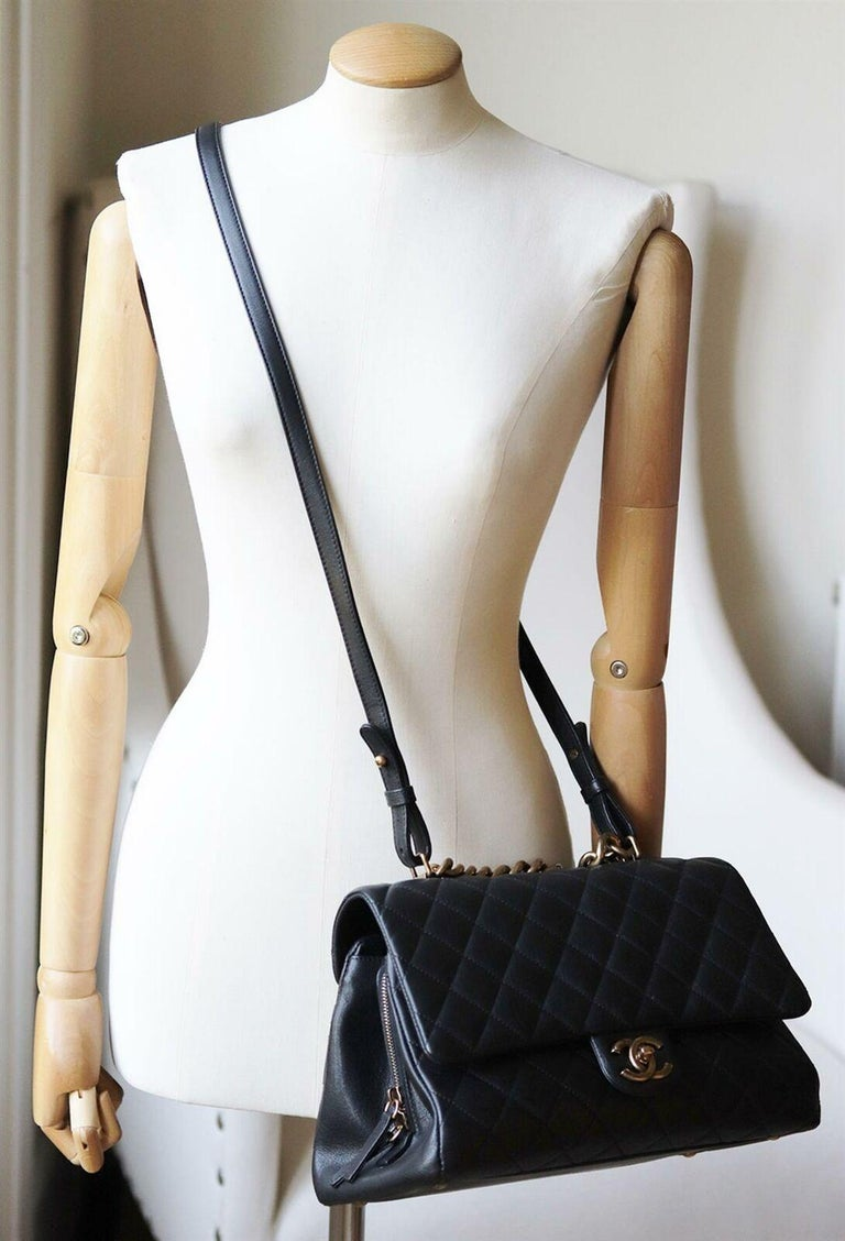 Chanel Quilted Leather Large Trapezio Flap Bag For Sale 7