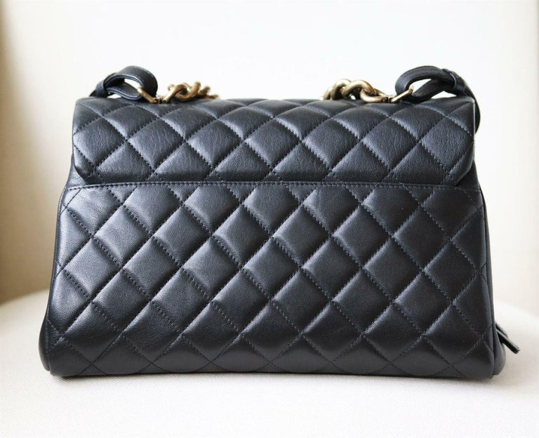 Chanel Quilted Leather Large Trapezio Flap Bag For Sale 1
