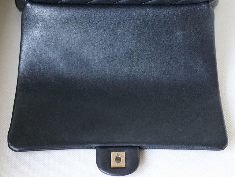 Chanel Quilted Leather Large Trapezio Flap Bag For Sale 3