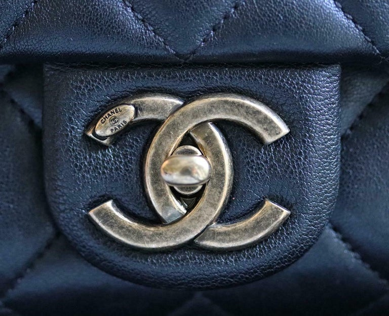 Chanel Quilted Leather Large Trapezio Flap Bag For Sale 4