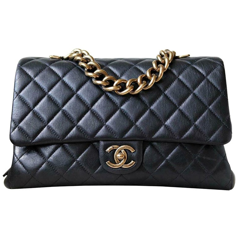 Chanel Quilted Leather Large Trapezio Flap Bag For Sale