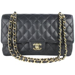 Chanel Quilted Medium Classic Double Flap 6cj0115 Black Leather Shoulder Bag