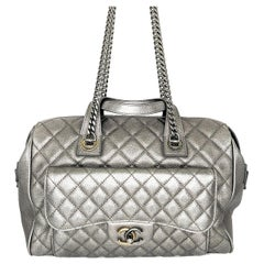 Chanel Quilted Metallic Silver Bowling Bag with Front Pocket