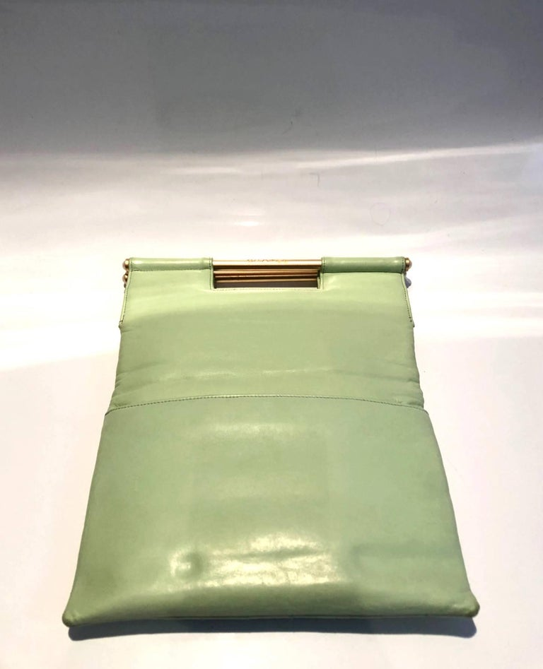 Brown Chanel quilted mint green clutch bag  For Sale