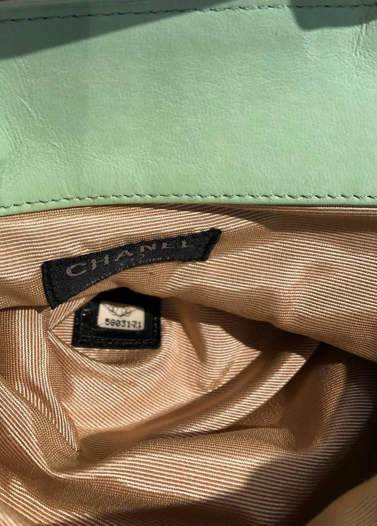 Chanel quilted mint green clutch bag  For Sale 1