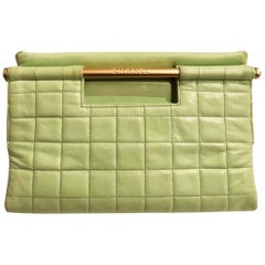 Chanel quilted mint green clutch bag