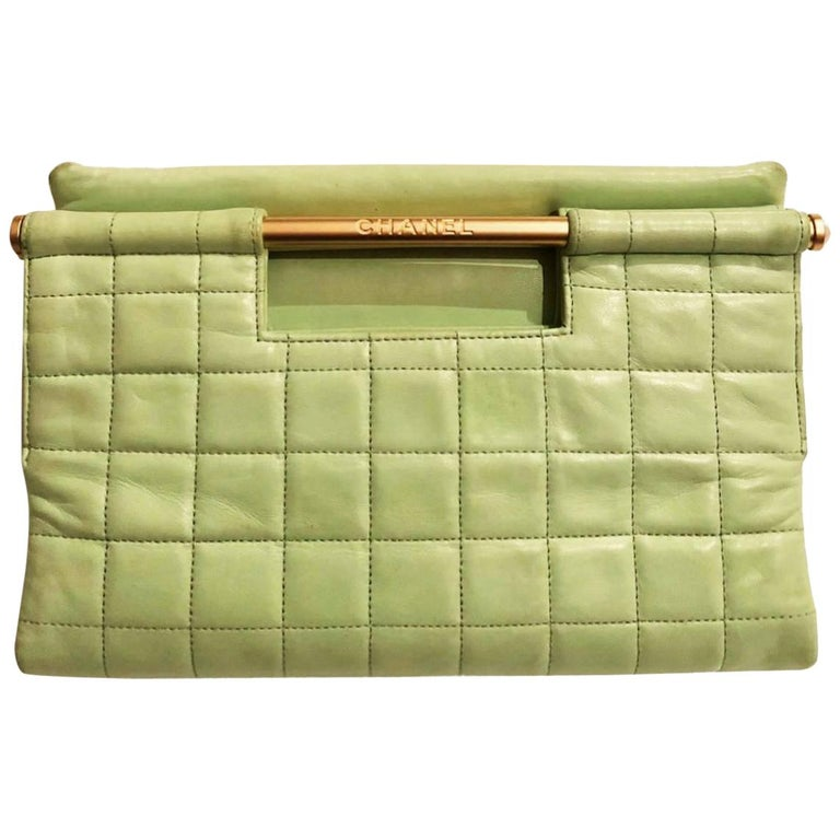 Chanel quilted mint green clutch bag  For Sale