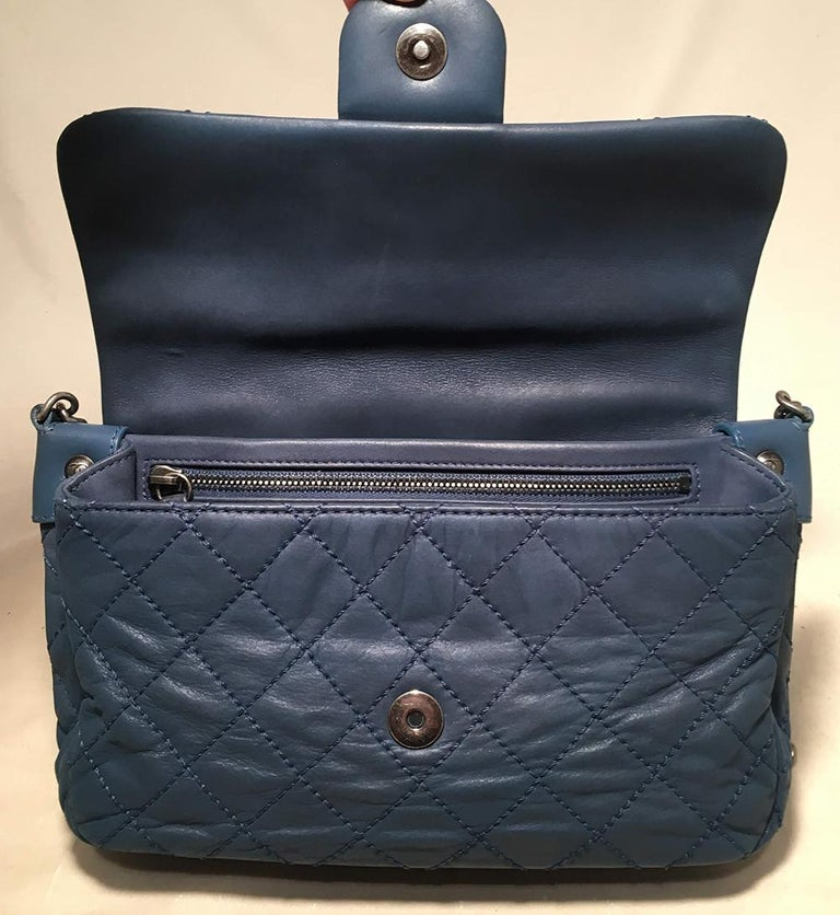 cb0d486de2a69e Chanel Quilted Navy Blue Coated Leather Classic Flap Shoulder Bag For Sale 1