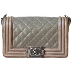 Chanel Quilted Patent Calfskin Leather Duo Boy Flap Bag