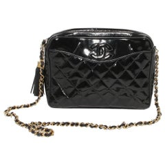 Chanel Quilted Patent Reporter Handbag
