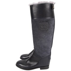 Chanel Quilted Riding Boots - dark blue