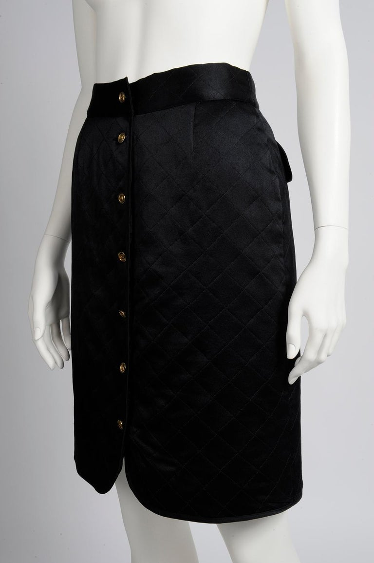 Chanel Quilted Satin Silk Skirt For Sale 1