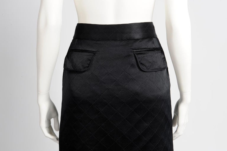 Chanel Quilted Satin Silk Skirt For Sale 3