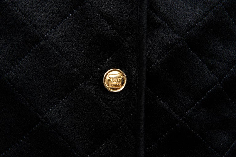 Chanel Quilted Satin Silk Skirt For Sale 4