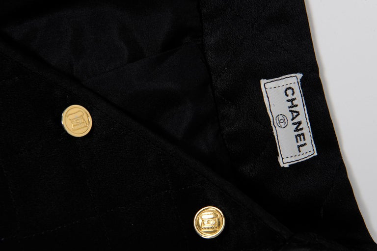 Chanel Quilted Satin Silk Skirt For Sale 5