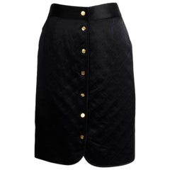 Chanel Quilted Satin Silk Skirt