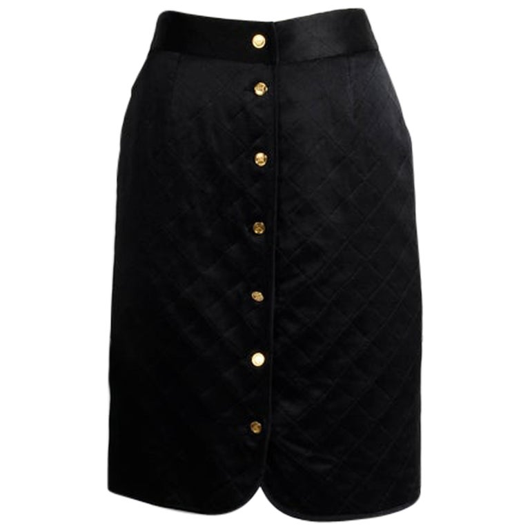 Chanel Quilted Satin Silk Skirt For Sale