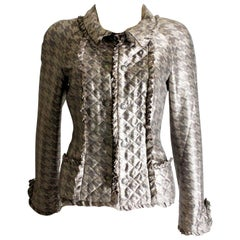 Chanel Quilted Silk Print Jacket Blazer with Ruffles Métiers d'Art Collection