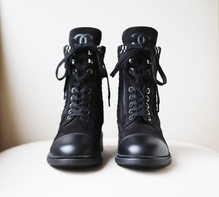 Black Chanel Quilted Suede and Leather Boots  For Sale