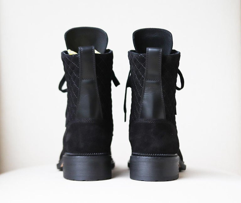 Women's Chanel Quilted Suede and Leather Boots  For Sale