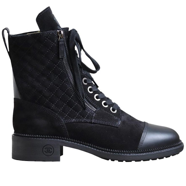 Chanel Quilted Suede and Leather Boots  For Sale