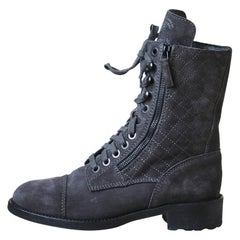 Chanel Quilted Suede High Boots