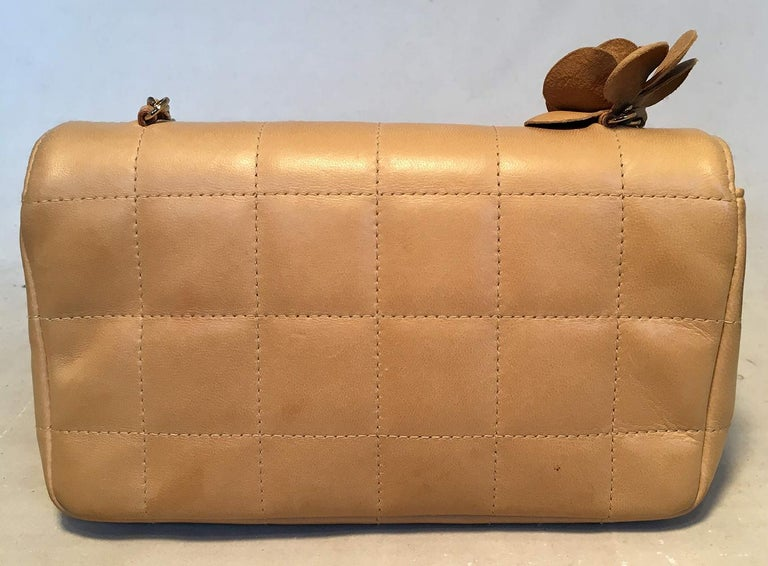 Brown Chanel Quilted Tan Mini Camellia Classic Flap Shoulder Bag For Sale