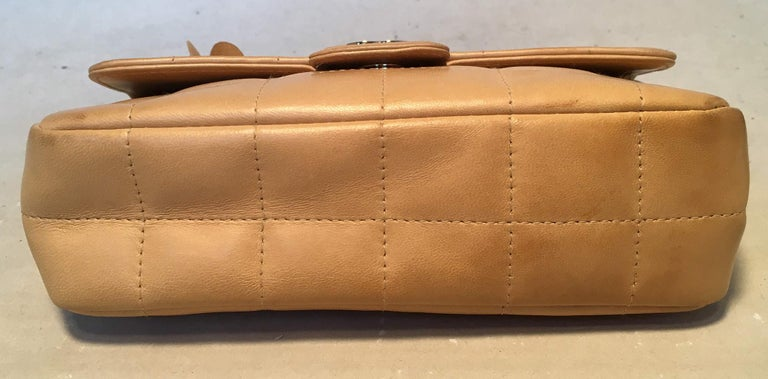 Chanel Quilted Tan Mini Camellia Classic Flap Shoulder Bag In Good Condition For Sale In Philadelphia, PA