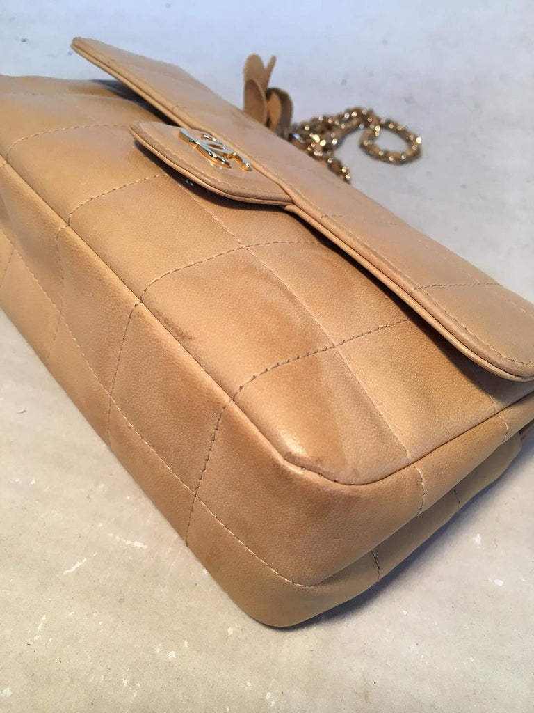 Women's Chanel Quilted Tan Mini Camellia Classic Flap Shoulder Bag For Sale